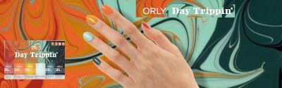 Orly GelFX Day Trippin, kleurtjes en gelakte hand op kleurrijke achtergrond