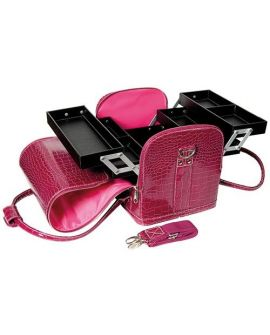 Beauty Case Croco Pink