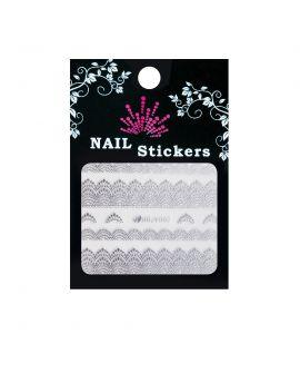 Bell'ure Nail Sticker Zilveren kant